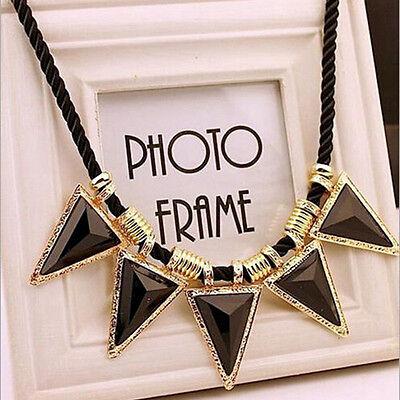 Fashion Black Crystal Statement Collar Chain Pendant Necklace Bib Choker Jewelry
