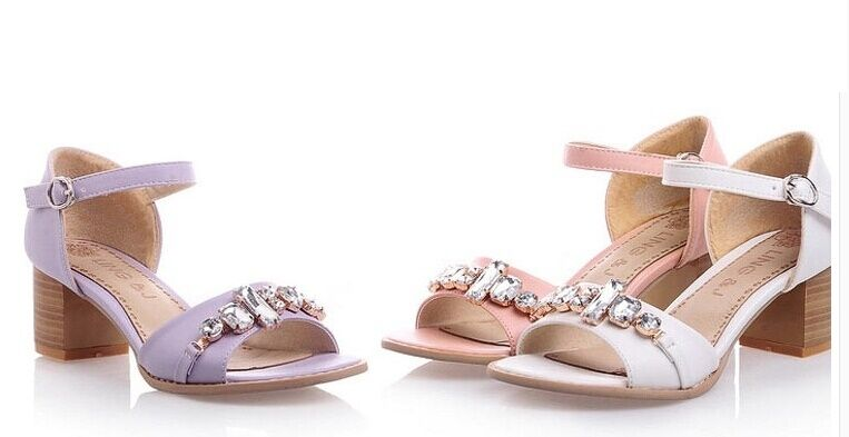 Summer sandals woman heel square 5.5 cm total white pink purple cod. 8471