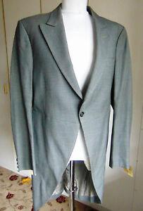 Vintage-James-Bell-slate-grey-wool-morning-coat-tailcoat-Victorian-Costume-40R