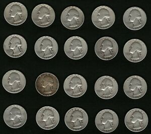 Lot-of-20-US-Washington-Silver-Quarters-Coins-Years-1946-1947-1948-1950-1951
