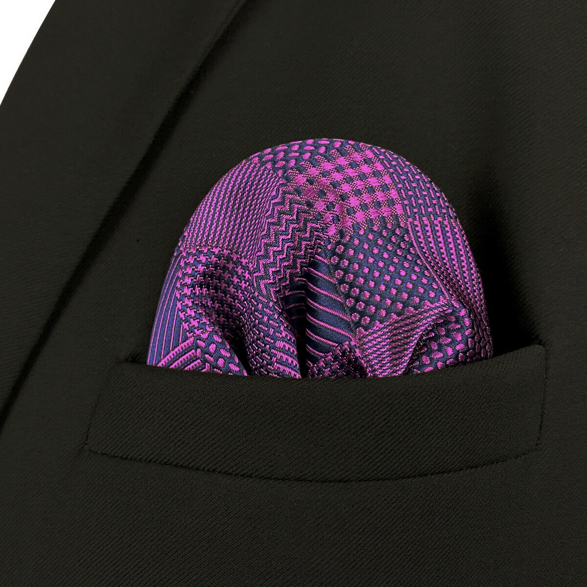 S&W SHLAX&WING Pocket Squares for Men Purple Checkered Wedding Luxury