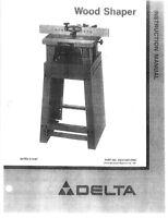 Delta 43-120 Wood Shaper Instruction Manual