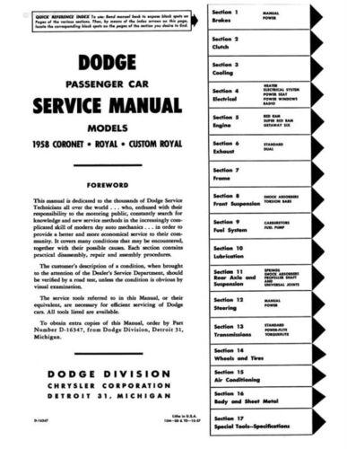 1958-1959 Dodge Car Shop Manual