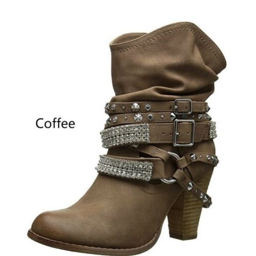 Retro Womens Buckle Slouch Boots Rivets Punk Shoes High Block Heel Booties Size