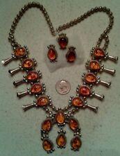 NAVAJO Vintage  Squash Blossom Necklace Earrings Ring, Honey Amber, Sterling Big