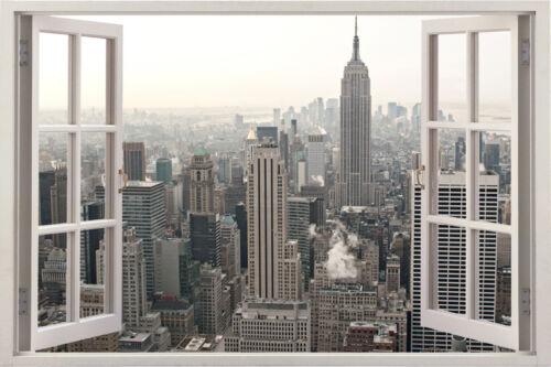 New York City skyline huge 3D Window View Wall Stickers Art Decal Beach Tropic