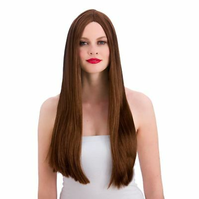Adult Ladies Classic Long Brown Straight Wig Fancy Dress Fashion Cosplay New