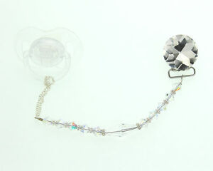 """Clear """"Diamond"""" Crystal Pacifier Clip with Crystals and Long Crystal Center"""