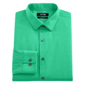 APT-9-Mens-Peacock-Green-Extra-Slim-Fit-Stretch-Dress-Shirt-Size-16-34-35