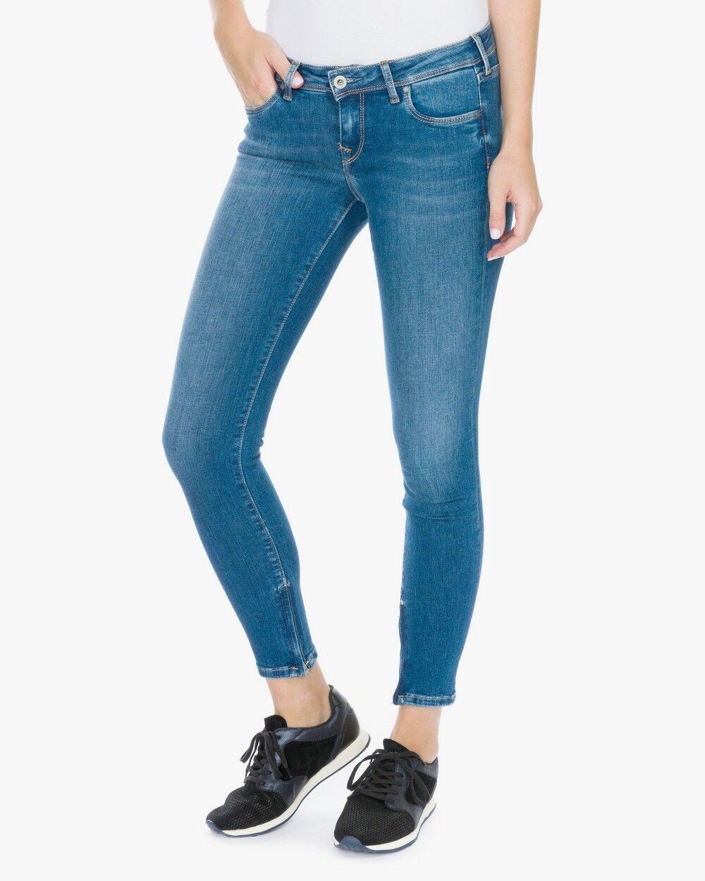 Pepe Jeans London Cher Skinny W25 L28 NEU Blau Used Damen Hose Stretch Denim