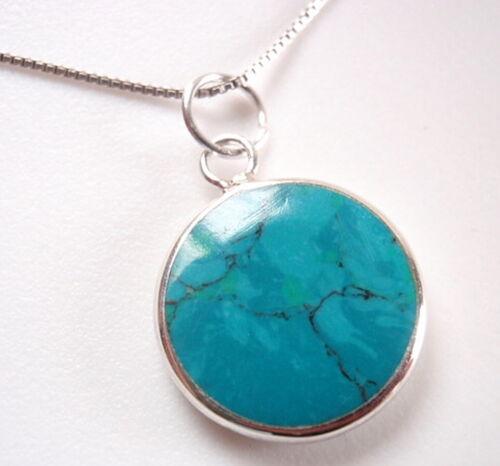 Réversible bleu vert turquoise /& Nacre 925 Argent Sterling Collier