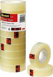 Lot de 10 Rouleaux de Ruban Adhésif  Transparent Emballage Solide Carton Scotch