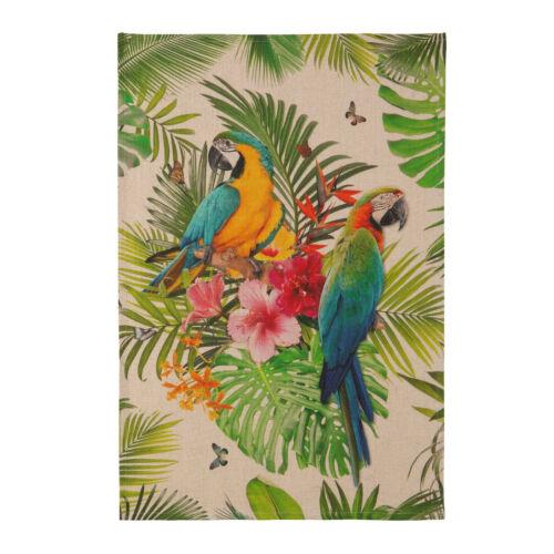 Geschirrtuch Küchentuch Tropical Dschungel Papagei 100 /% Leinen Coucke