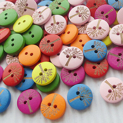 New 10/50/100/500pcs Banyan Wood Buttons 15mm Sewing Mix Lots