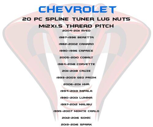 20pc Blue 12x1.5 Chevrolet Spline Lug Nut Kit Sockets Fits Malibu ...
