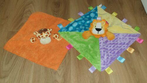 PERSONALISED BABY TEDDY LION OR GIRAFFE COMFORT SNUGGLE BLANKET COMFORTER