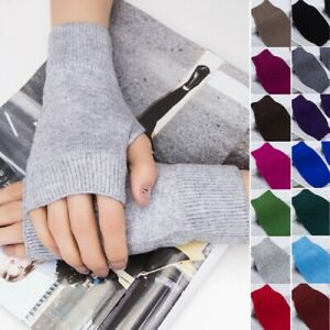 1-Pair-Ladies-Plain-Cashmere-Thermal-Fingerless-Knitted-Winter-Warm-Half-Gloves