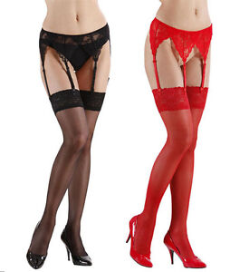 0dc3b4e319d SEXY LACE GARTER BELT FOR THIGH HIGH TIGHTS RED BLACK CLIP ON ...