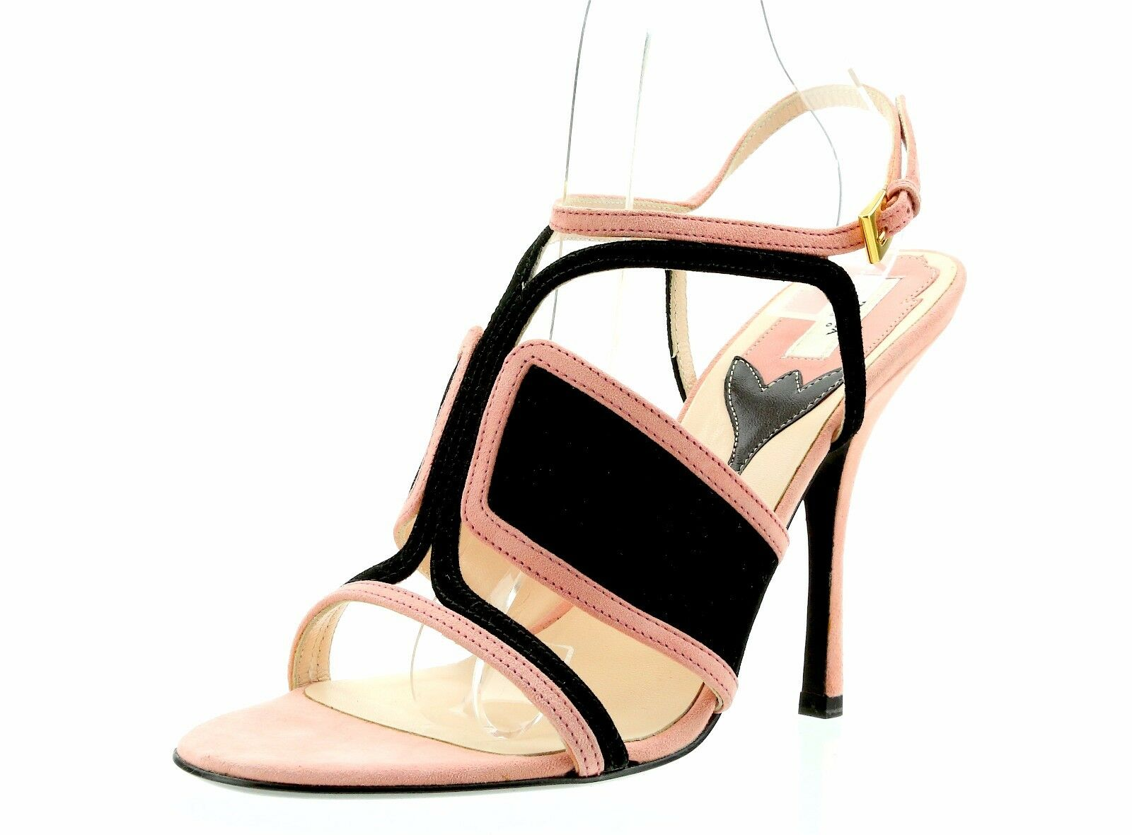 PRADA Milano Light Pink Suede Ankle Strap Sandals 3050 Size 38 EU NEW