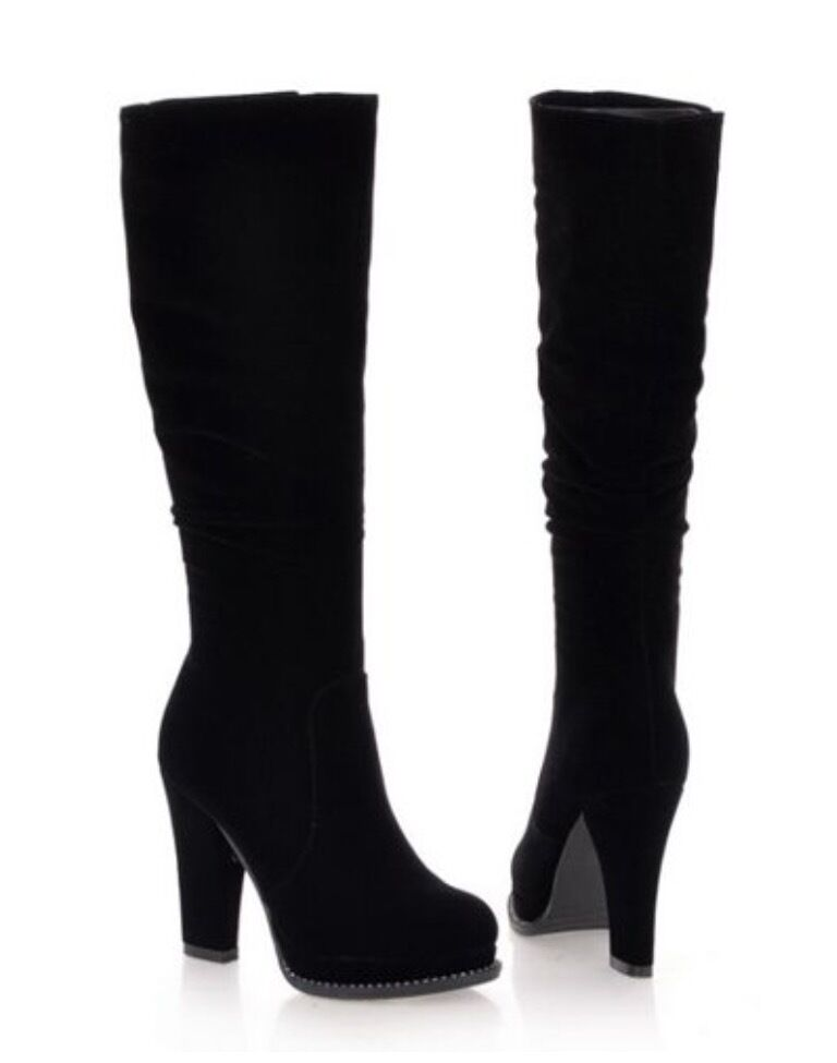 Stylish Black Suede Knee High Boots