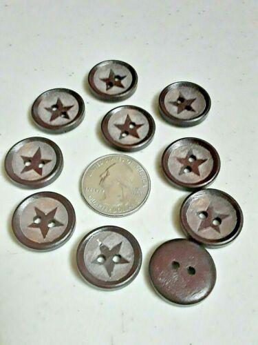 """Pkg of 10 DARK STAR 2-hole Wood Button 3//4/"""" 3600DK 20mm Crafts"""