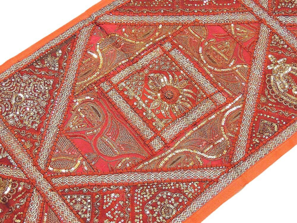 Russet Patchwork Handmade Runner ethnique Design Home Decor Rajasthan tapisserie