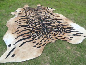 ZEBRA print printed Cowhide Rug natural Cow Hide Skin beige white Z LARGE !
