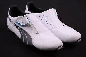 Details about Puma White & Gray Leather No Lace Hook & Loop Perforated  Sneakers Shoes 11