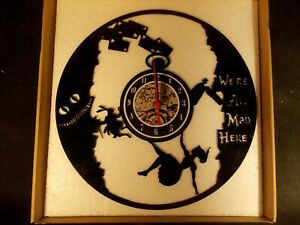 """/""""We/'re All Mad Here/"""" Wall Clock cut from a 12/"""" Phono Record BRAND NEW!"""