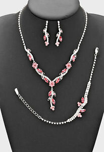 3PECES PINK PETAL CRYSTAL BRIDAL/PROM NECKLACE , B, EARRING SETS4 d
