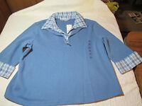 Women's Blue Rebecca Malone Layered Look Shirt Half Sleeve Size Xl