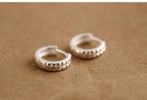 Solid-925-Sterling-Silver-Hoop-Huggie-Earrings-13mm-Gift-Pouch