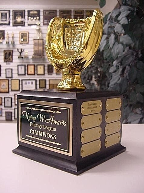 FANTASY BASEBALL 16 YEAR PERPETUAL TROPHY Gold RESIN MITT AWARD