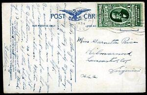 Panama-pour-USA-diffuse-CARTE-POSTALE-1934-VF