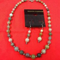 Quality Costume Jewelry Stone Necklace And Earrings Olive, Gray, Pink, Purple