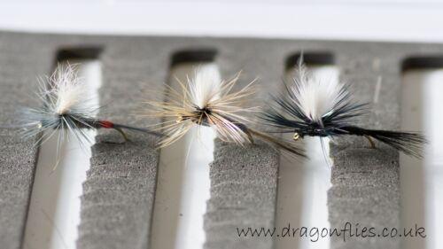 12 Parachutes Iron Blue Dun,Grey Duster /& Black Trout Fly Fishing Flies