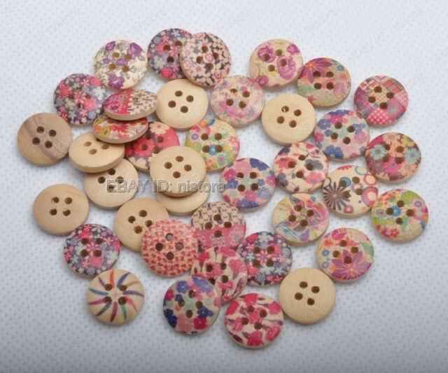 50pcs Mixed Pattern Brown Wood Buttons 4holes Fit Sewing Scrapbook 15MM FREESHIP