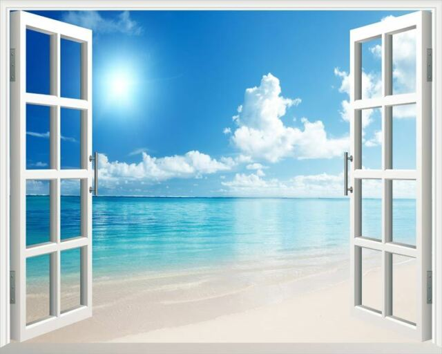 Sunshine Beach 3D Window View Wall Removable Art Stickers Vinyl Decal Home Decor