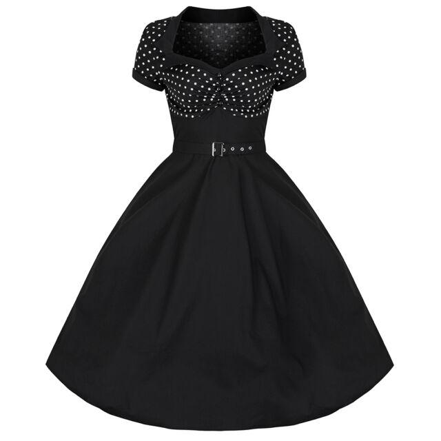 Pretty Kitty Rockabilly 50s Black Polka Dot Vintage Pin Up Swing Prom Dress 4-20