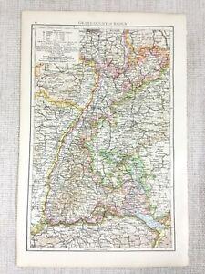 1898-Antik-Map-Of-Die-Grand-Herzogtum-Von-Baden-Deutschland-Deutsche-Reich-19th