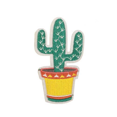 Embroidery Applique Patch Sew Iron Badge Cactus with Base Iron on