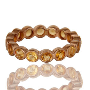 Citrine-Gemstone-Rose-Plated-925-Silver-Engagement-Eternity-Band-Rings
