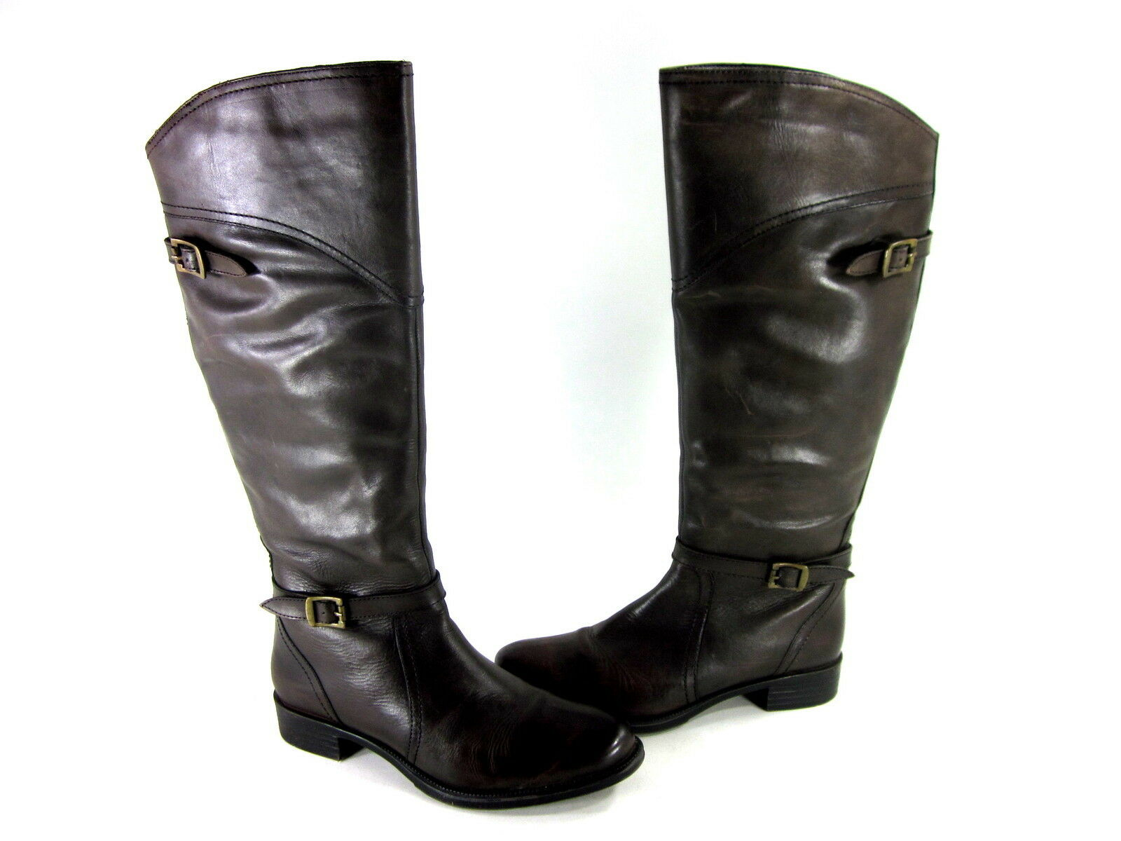 DIBA WOMEN'S THE WEEK END KNEE-HIGH FASHION BOOTS BROWN LEATHER US SIZE 9.5 MED