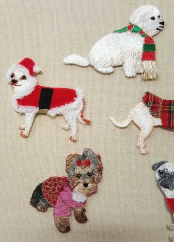 SEW EMBROIDERED APPLIQUES #986 6 lot  DRESS-UP PUPPY DOG YORKIE PUG IRON ON