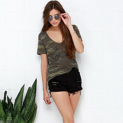 Womens Casual V-neck Camouflage Military Camo Short Sleeve T-shirt Top