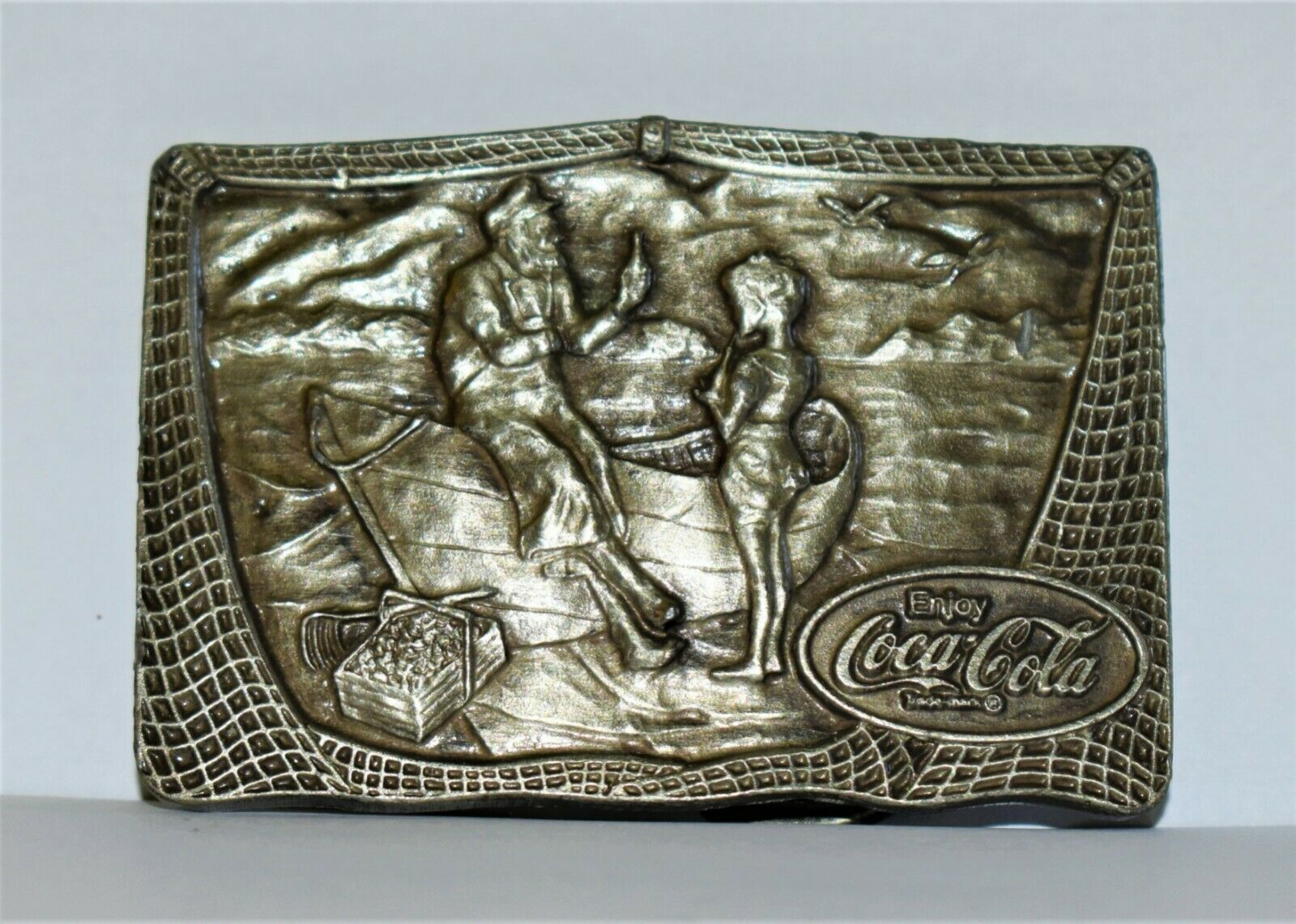 Vintage Coca Cola Pewter Buckle of a Fisherman & Child Having a Coke, Excellent