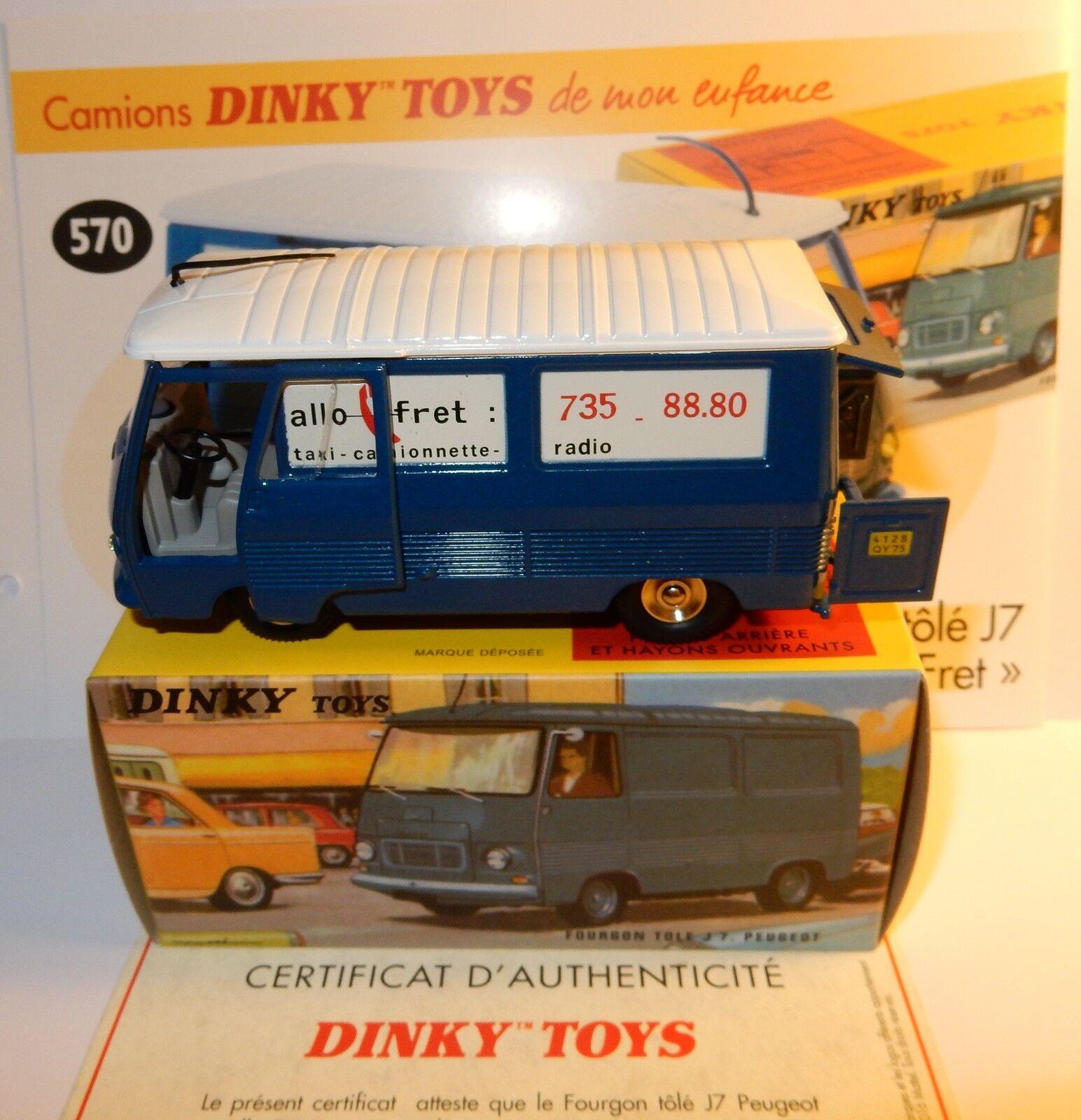 DINKY TOYS ATLAS CAMION FOURGON PEUGEOT J7 ALLO FRET REF 570 IN BOX