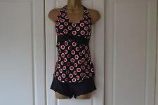 Women 2 Pcs Halter Red Spotty Tankini Swimsuit Swimming Costume (Size 12)