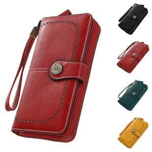 Women Gift Long Wallets Zipper & Hasp PU Wallet Card Holder Coin Pocket Purses