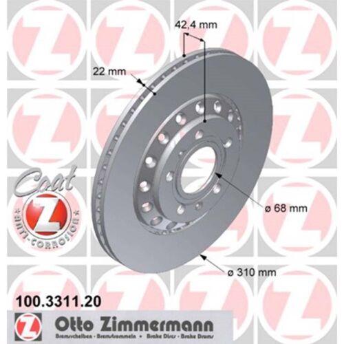 2 Zimmermann Bremsscheiben Audi A8 VW Phaeton TDI FSI V6 V8 310mm belüftet